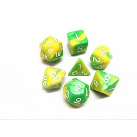 HD Dice 7 Set Polyhedral Dice - Yellow + Green Blend White Font