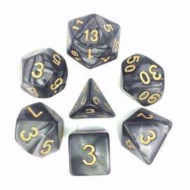 HD Dice 7 Set Polyhedral Dice - Black Pearl Gold Font