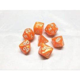 HD Dice 7 Set Polyhedral Dice - Orange Pearl White Font