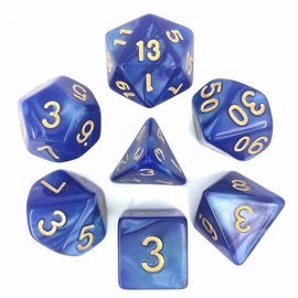 HD Dice 7 Set Polyhedral Dice - Blue Pearl Gold Font