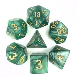 HD Dice 7 Set Polyhedral Dice - Green Pearl Gold Font