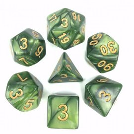 HD Dice 7 Set Polyhedral Dice - Grass Green Pearl Gold Font