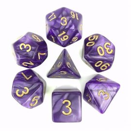 HD Dice 7 Set Polyhedral Dice - Purple Pearl Gold Font
