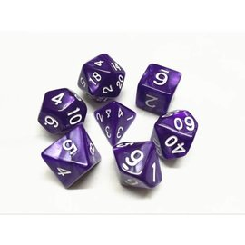 HD Dice 7 Set Polyhedral Dice - Purple Pearl White Font