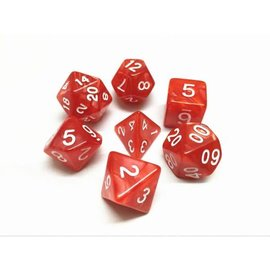 HD Dice 7 Set Polyhedral Dice - Red Pearl White Font