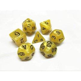 HD Dice 7 Set Polyhedral Dice - Yellow Pearl Black Font
