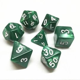 HD Dice 7 Set Polyhedral Dice - Green Pearl White Font