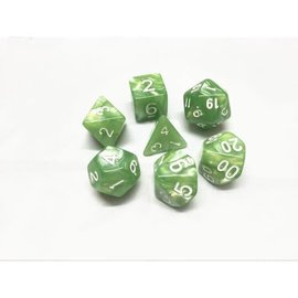 HD Dice 7 Set Polyhedral Dice - Pale Green Pearl White Font