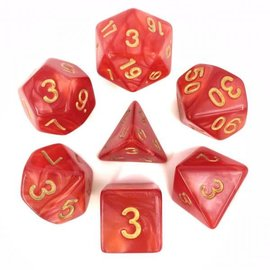 HD Dice 7 Set Polyhedral Dice - Red Pearl Gold Font