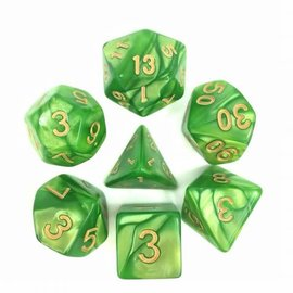 HD Dice 7 Set Polyhedral Dice - Light Green Pearl Gold Font