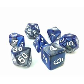 HD Dice 7 Set Polyhedral Dice - Silver + Blue Blend White Font