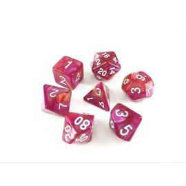 HD Dice 7 Set Polyhedral Dice - Yellow + Rose Red Blend White Font