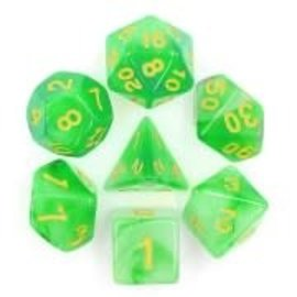 HD Dice 7 Set Polyhedral Dice - Milky - Green