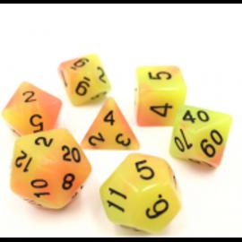 HD Dice 7 Set Polyhedral Dice - Glow in the Dark - Yellow Orange