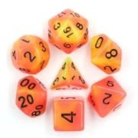 HD Dice 7 Set Polyhedral Dice - Glow in the Dark - Red Yellow