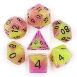 HD Dice 7 Set Polyhedral Dice - Glow in the Dark - Purple Green