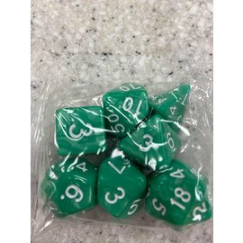HD Dice 7 Set Polyhedral Dice - Light Green Pearl White Font