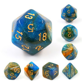 HD Dice 7 Set Polyhedral Dice - River at Dusk