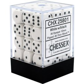 Chessex 36 12mm D6 Dice Block - Opaque - White/Black - CHX25801