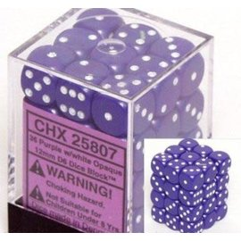Chessex 36 12mm D6 Dice Block - Opaque - Purple/White - CHX25807