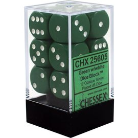Chessex 12 16mm D6 Dice Block - Opaque - Green/White - CHX25605