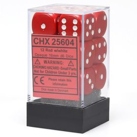 Chessex 12 16mm D6 Dice Block - Opaque - Red/White - CHX25604