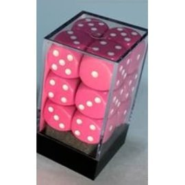 Chessex 12 16mm D6 Dice Block - Opaque - Pink/White - CHX25644