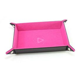 Die Hard Dice Rectangular Folding Dice Tray - Heat Change Pink Leather - Pink
