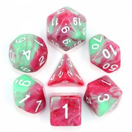 7 Set Polyhedral Dice - Strawberry Cream