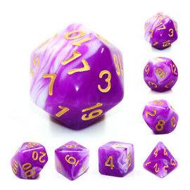 7 Set Polyhedral Dice - Berry Cream