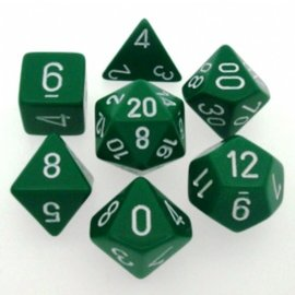 Chessex 7 Set Polyhedral Dice - Opaque - Green/White - CHX25405