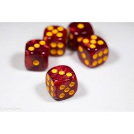 12 16mm D6 Dice Block - Swirl - Red/Yellow