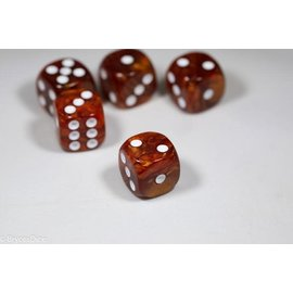 12 16mm D6 Dice Block - Swirl - Rust/White