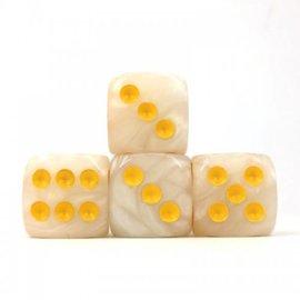 12 16mm D6 Dice Block - Swirl - White/Yellow