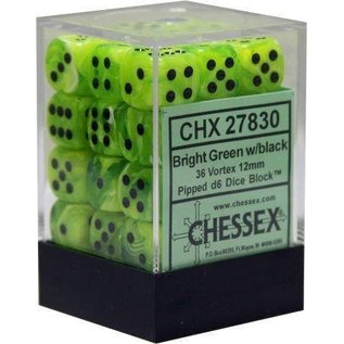 Chessex 36 12mm D6 Dice Block - Vortex - Bright Green/Black - CHX27830