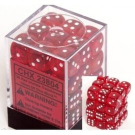 Chessex 36 12mm D6 Dice Block - Translucent - Red/White - CHX23804