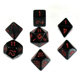 Chessex 7 Set Polyhedral Dice - Opaque - Black/Red - CHX25418