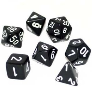 Chessex 7 Set Polyhedral Dice - Opaque - Black/White - CHX25408