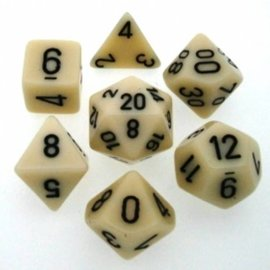 Chessex 7 Set Polyhedral Dice - Opaque - Ivory/Black - CHX25400
