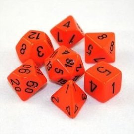 Chessex 7 Set Polyhedral Dice - Opaque - Orange/Black - CHX25403