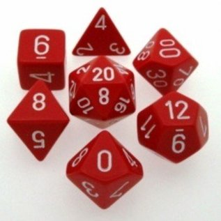 Chessex 7 Set Polyhedral Dice - Opaque - Red/White  - CHX25404