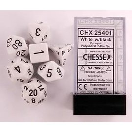 Chessex 7 Set Polyhedral Dice - Opaque - White/Black - CHX25401