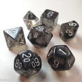 Chessex 7 Set Polyhedral Dice - Translucent - Smoke/White - CHX23008