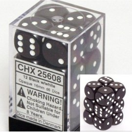 Chessex 12 16mm D6 Dice Block - Opaque - Black/White - CHX25608