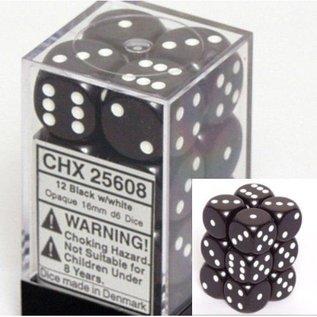 Chessex 12 16mm D6 Dice Block - Opaque - Black/White - CHX25608