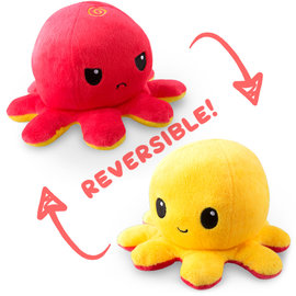 Tee Turtle Reversible Octopus Plushie: Red and Yellow