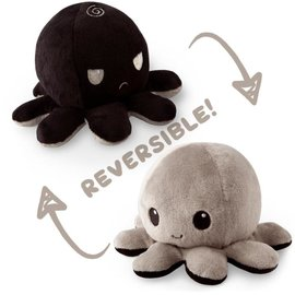 Tee Turtle Reversible Octopus Plushie: Black and Gray