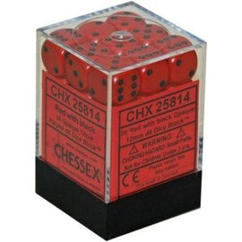 Chessex 36 12mm D6 Dice Block - Opaque - Red/Black - CHX25814