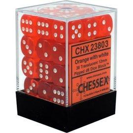 Chessex 36 12mm D6 Dice Block - Translucent - Orange/White - CHX23803