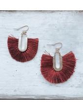 Burgundy Tassel Earring